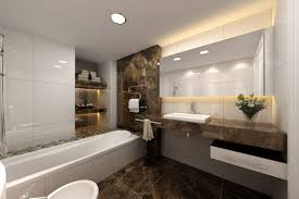 masculine bathroom design with black floor combined with marble