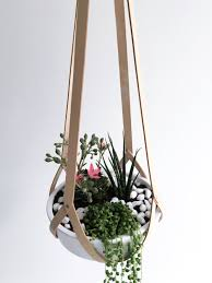 hanging basket minimalist hanging planter vegetable tanned