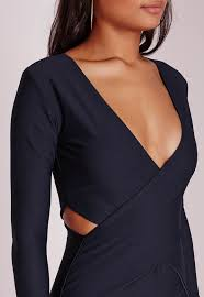 missguided cut out bodycon dress navy in blue lyst