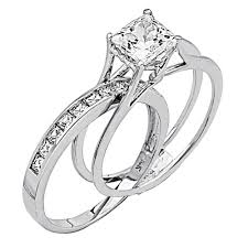 weding rings 2 ct princess cut 2 engagement wedding ring band set solid