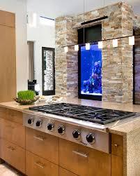 home design kicthen island black stove wall fish tank elegant