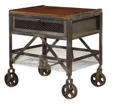 metal side tables for bedroom square black metal side table with brown wood top completed by