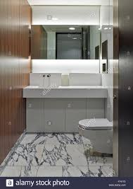 marble floored washroom with wood panelled wall in squire sanders