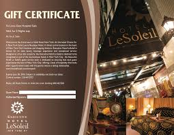 hotel gift certificates executive hotel le soleil new york gift certificate executive