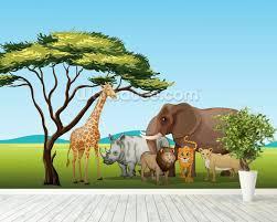 safari cartoon african safari cartoon wallpaper wall mural wallsauce new zealand