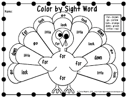 Thanksgiving Printables First Grade Free Color By Sight Word Printables Thanksgiving Worksheets