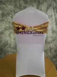 Gold Spandex Chair Covers Gold Sequin Chair Band Chair Sash Bow Include Buckle For Wedding