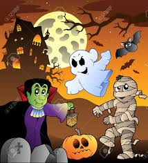 scene with haunted house 1 vector illustration royalty free