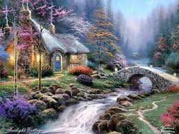 kinkade twilight cottage wallpaper other abstract