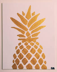 Pineapple Home Decor by Gold Metallic Pineapple Painting Ready To Ship 8x10 Acrylic
