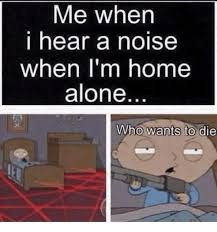 Meme Alone - me when i hear a noise when i m home alone who wants to die being