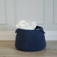 Baby Storage Baskets Denim Blue Crocheted Storage Basket Medium U2013 Classic Timeless