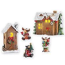 amazon com woodland cabin moose christmas village set garden