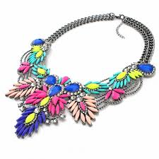 multi colored necklace images Diagolos multicolored stone cluster statement necklace jpg