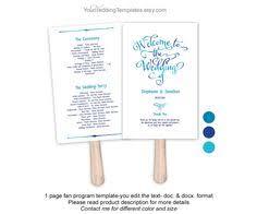 Program Fan Template Simple Navy Blue Wedding Program Template Download Diy