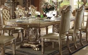 gold dining table set gold dining room chairs vendome 7 piece double pedestal table dining