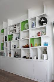 decor beautiful floating bookshelves with white wall painting and