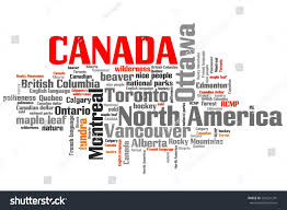 canada related symbols concepts word cloud stock illustration