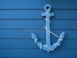 anchor wooden blue background stock image image 70951497