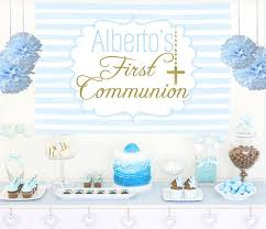 first communion cake table backdrop religious boy photo