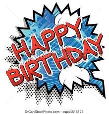 happy birthday book happy birthday comic book style word vectors illustration
