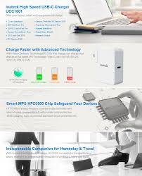 amazon com inateck 45w usb c wall charger power delivery pd