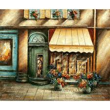 Paint Places by Classical Oil Painting Venice Storefront Cobblestone Street