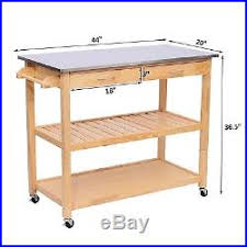 kitchen island wooden cart rolling stainless steel block cutting