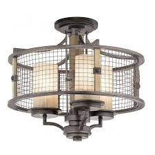 new york lighting company rustic iron and wooden ceiling pendant with mesh surround shade