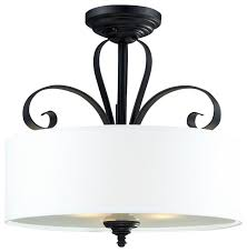 flush mount drum light three light matte black white linen shade drum semi flush mount