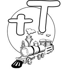 letter t is for train coloring page for preschool kids bulk color