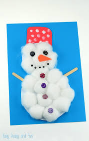 cotton ball snowman craft easy peasy fun
