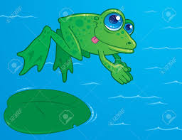 vector drawing of a cute frog diving off of a lily pad into water