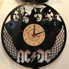 theme clock ac dc theme wall clock vinyl record clock unique black vinyl lp