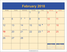 february 2018 calendar cute february 2018 cute printable calendar