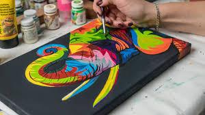 acrylic painting colored elephant 4k