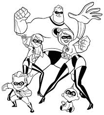 the incredibles whole family coloring page download u0026 print