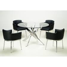 Dining Room Swivel Chairs Furniture Of America Damore Contemporary 5 Piece High Gloss Round