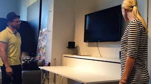 Wall To Wall Desk Diy by Horizontal Wall Bed With Desk Hidden Wall Bed With Table Youtube