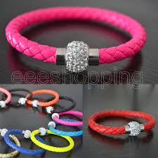 rhinestone buckle bracelet images S082 ladies women faux leather wristband braided magnetic jpg