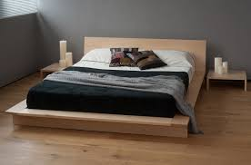bedroom simple lacquered oak flat platform bed which decorated