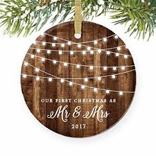 as mr mrs ornament 2017 rustic 1st