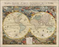 Map Of Western Hemisphere Desnos U0027 Spectacular Double Hemisphere World Map From 1772 With An