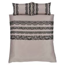 catherine lansfield glamour flock lace king duvet cover set mocha