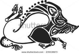 running twisted boar style scythian tattoos stock vector 235530673
