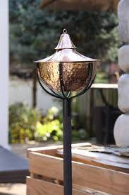 set of 2 maui grande garden torches hammered copper