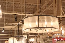exciting drum shade chandelier for industrial home interior design