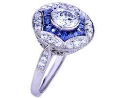 engagement ring art deco engagement ring blue sapphire u0026 diamonds