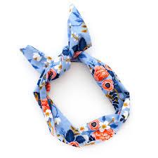 wire headband blue flower print wire headband rifle paper co fabric by mane
