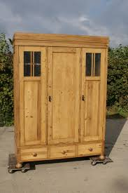 Solid Pine Wardrobes Early 20th Century Large Antique German Solid Pine Armoire